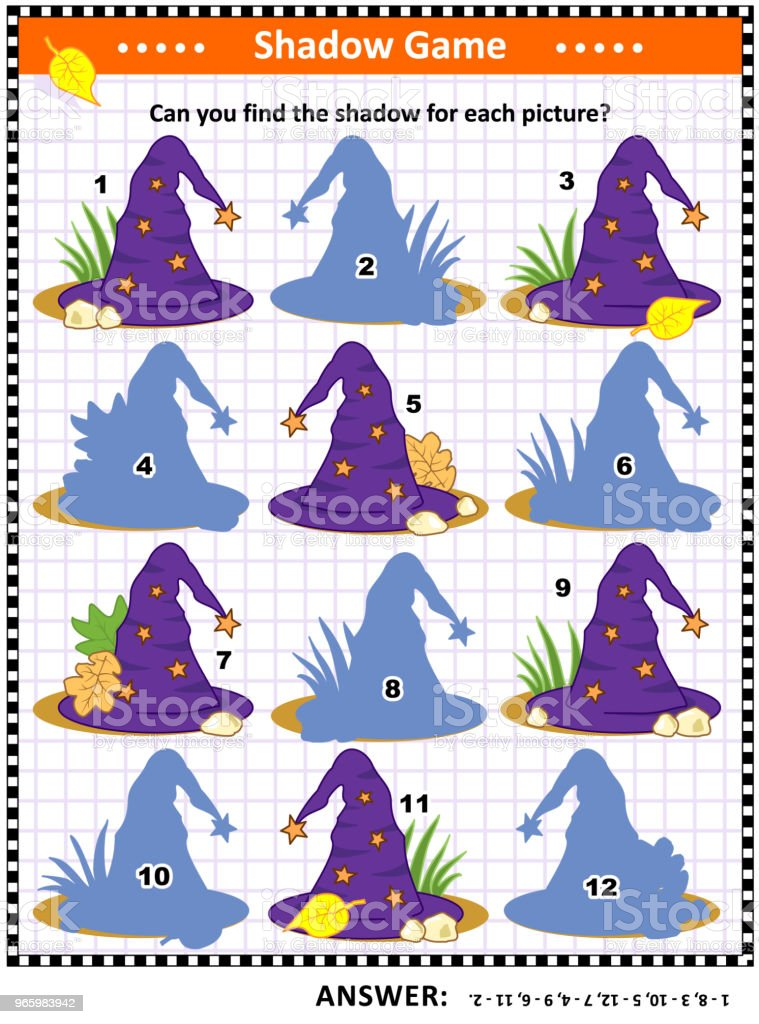 Halloween shadow game with witch hats - Royalty-free Atividade arte vetorial