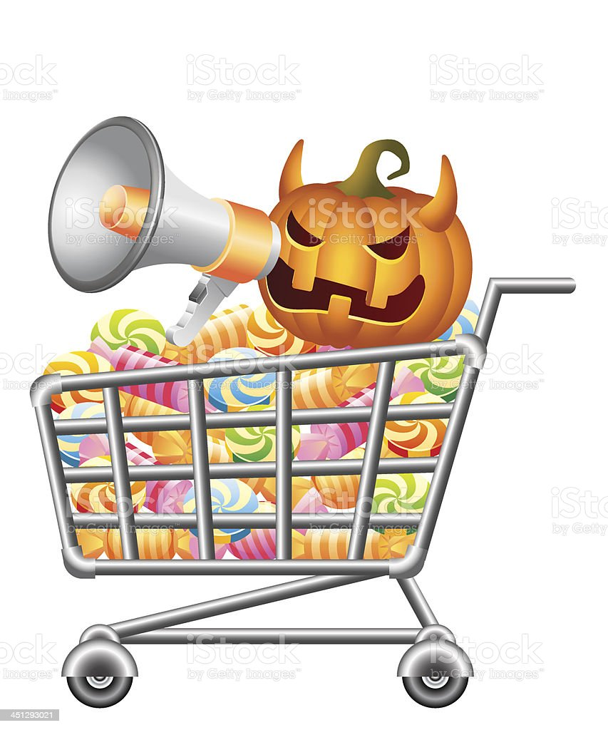 Halloween shopping-cart royalty-free stock vector art