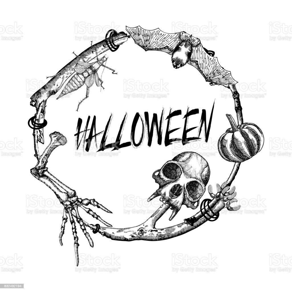 Halloween Schild Und Poster Halloweendekoration Im Zweig Rahmen Die ...