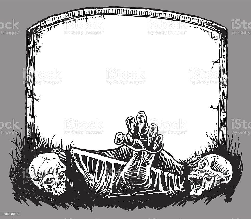 Halloween Sign with Skulls royalty-free stock vector art