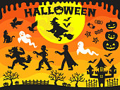 This is a set of Halloween silhouettes and background illustration material.
