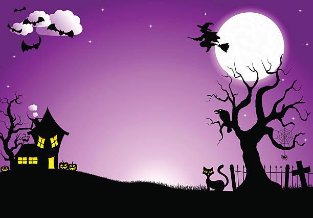 halloween silhouette background vector illustration of halloween silhouette background scary halloween scene silhouettes stock illustrations