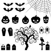 Halloween silhouette elements.
