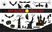 Halloween silhouette material set: old castle and bats, dead tree and pumpkin, cat Vector illustration