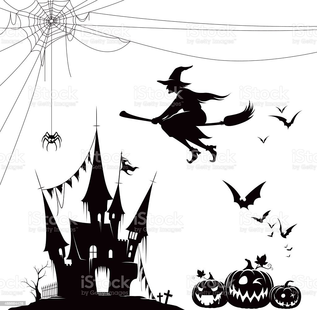 Halloween silhouette set vector art illustration