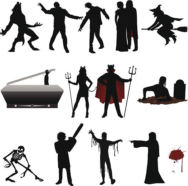 Halloween Silhouette Witch on a broom, zombies corpses and more. Files included – jpg, ai (version 8 and CS3), svg, and eps (version 8) werewolf stock illustrations