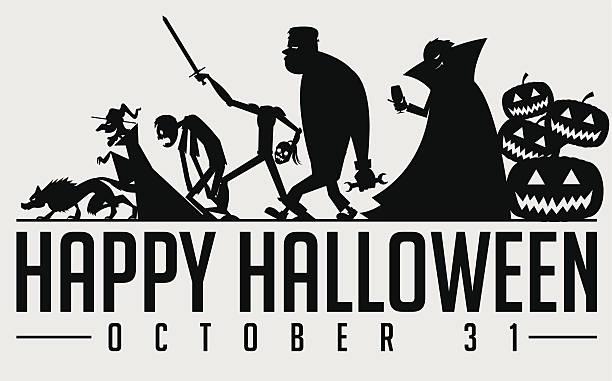 bildbanksillustrationer, clip art samt tecknat material och ikoner med halloween silhouette - parad