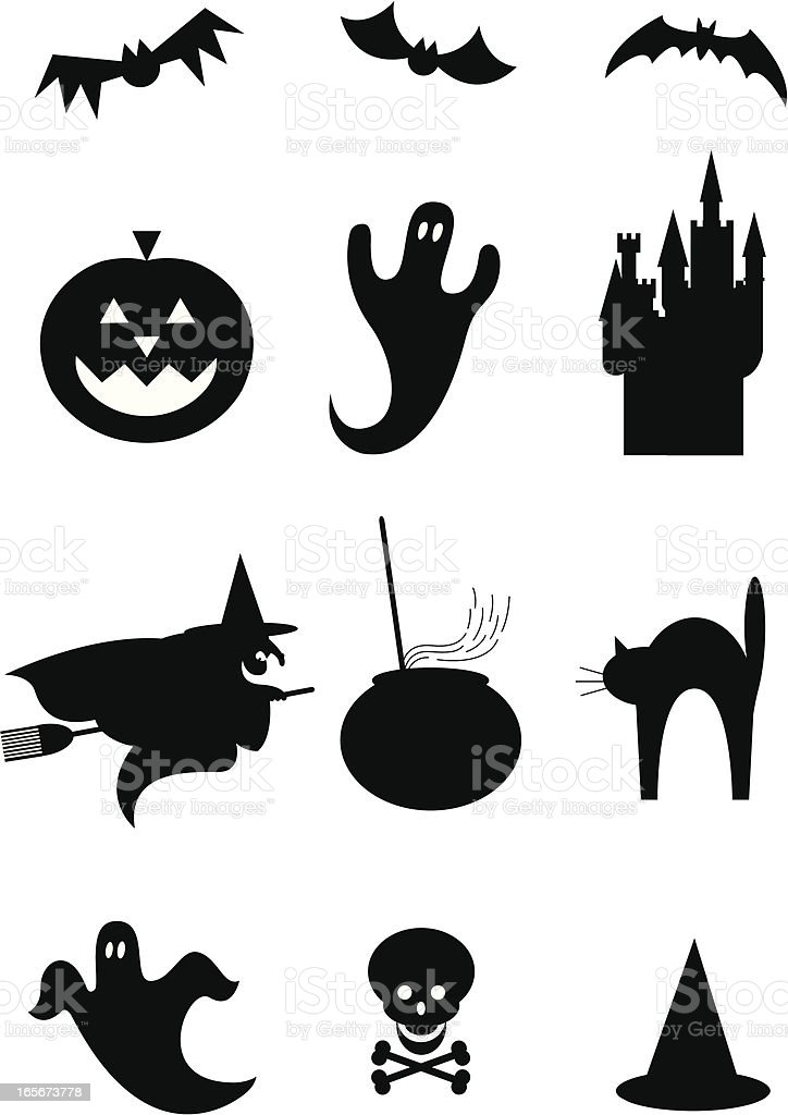 Halloween silhouettes icons stock vector art more images - Decoration halloween fait maison ...