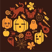 Composition with halloween silhouettes. ZIP includes large JPG (CMYK 4000x4000px) PNG with black silhouettes on transparent background.