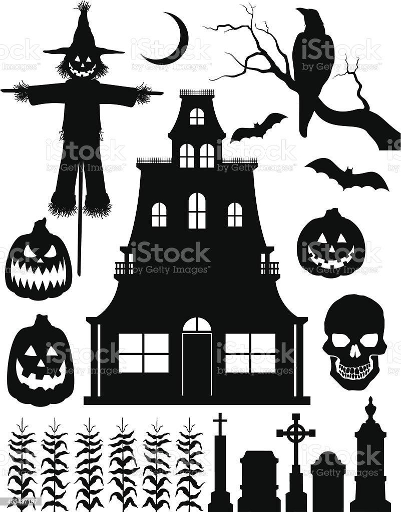 Halloween Silhouettes royalty-free stock vector art