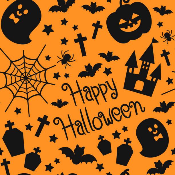 Halloween silhouette seamless pattern vector art illustration