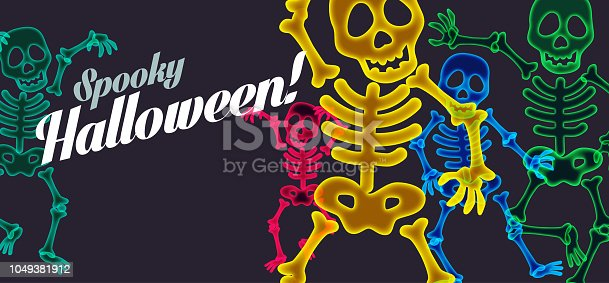 Colourful overlapping silhouettes of halloween skeletons with message
