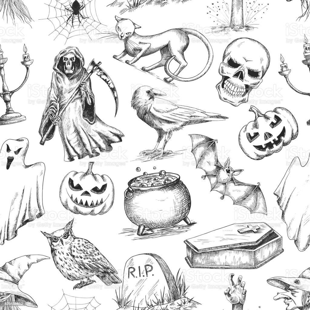 Halloween sketch seamless pattern vector art illustration