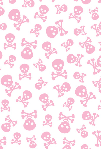Halloween Skull & Crossbones Repeat Pattern in White