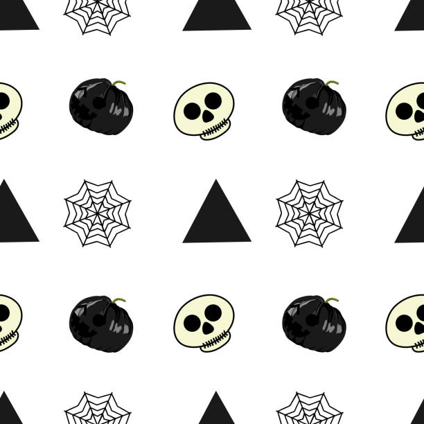 Halloween skull dark pumpkin and web spider seamless pattern Halloween skull dark pumpkin and web spider seamless pattern. vector illustration for fashion textile print and wrapping with festive design. tarantula stock illustrations