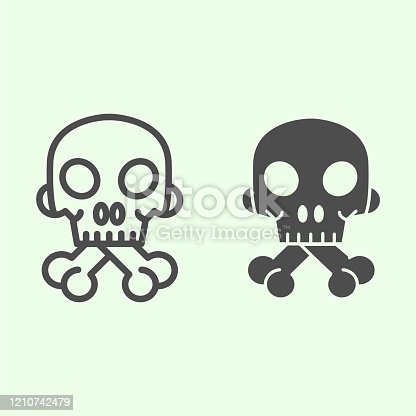 istock Halloween Skull line and solid icon. Human spooky death head with bones outline style pictogram on white background. Witchcraft and magic signs for mobile concept and web design. Vector graphics. 1210742479