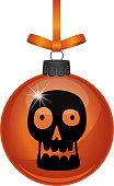 Vector illustration of a black skull on an orange glass ornament.