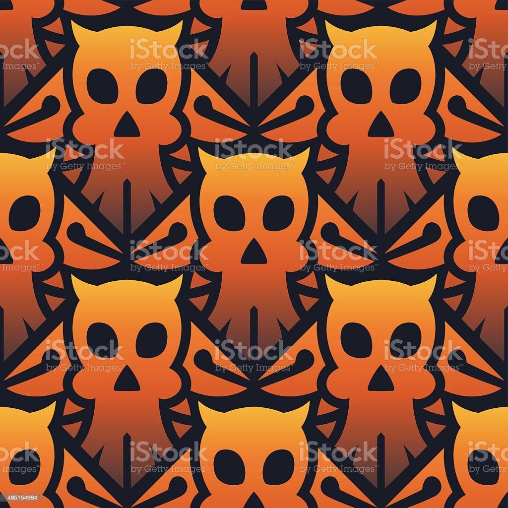 Halloween Skull Seamless Pattern vector art illustration
