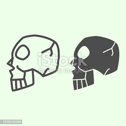 istock Halloween Skull Side View line and solid icon. Human spooky death head outline style pictogram on white background. Witchcraft and magic sign for mobile concept and web design. Vector graphics. 1210742444