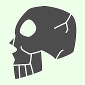 Halloween Skull Side View solid icon. Human spooky death head glyph style pictogram on white background. Witchcraft and magic sign for mobile concept and web design. Vector graphics