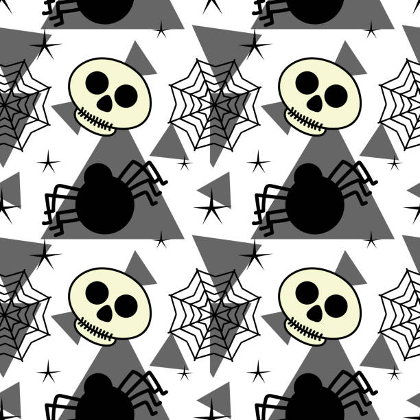Halloween skull spider and web spider seamless pattern Halloween skull spider and web spider seamless pattern. vector illustration for fashion textile print and wrapping with festive design. tarantula stock illustrations