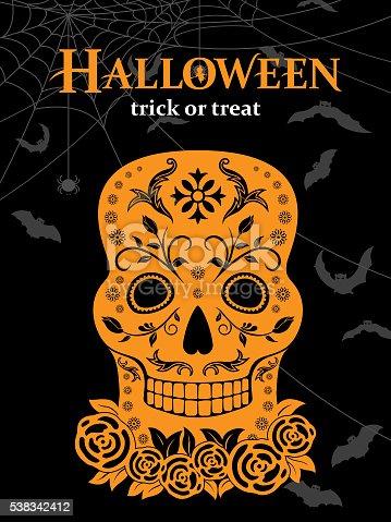 Fancy skull for in halloween background..