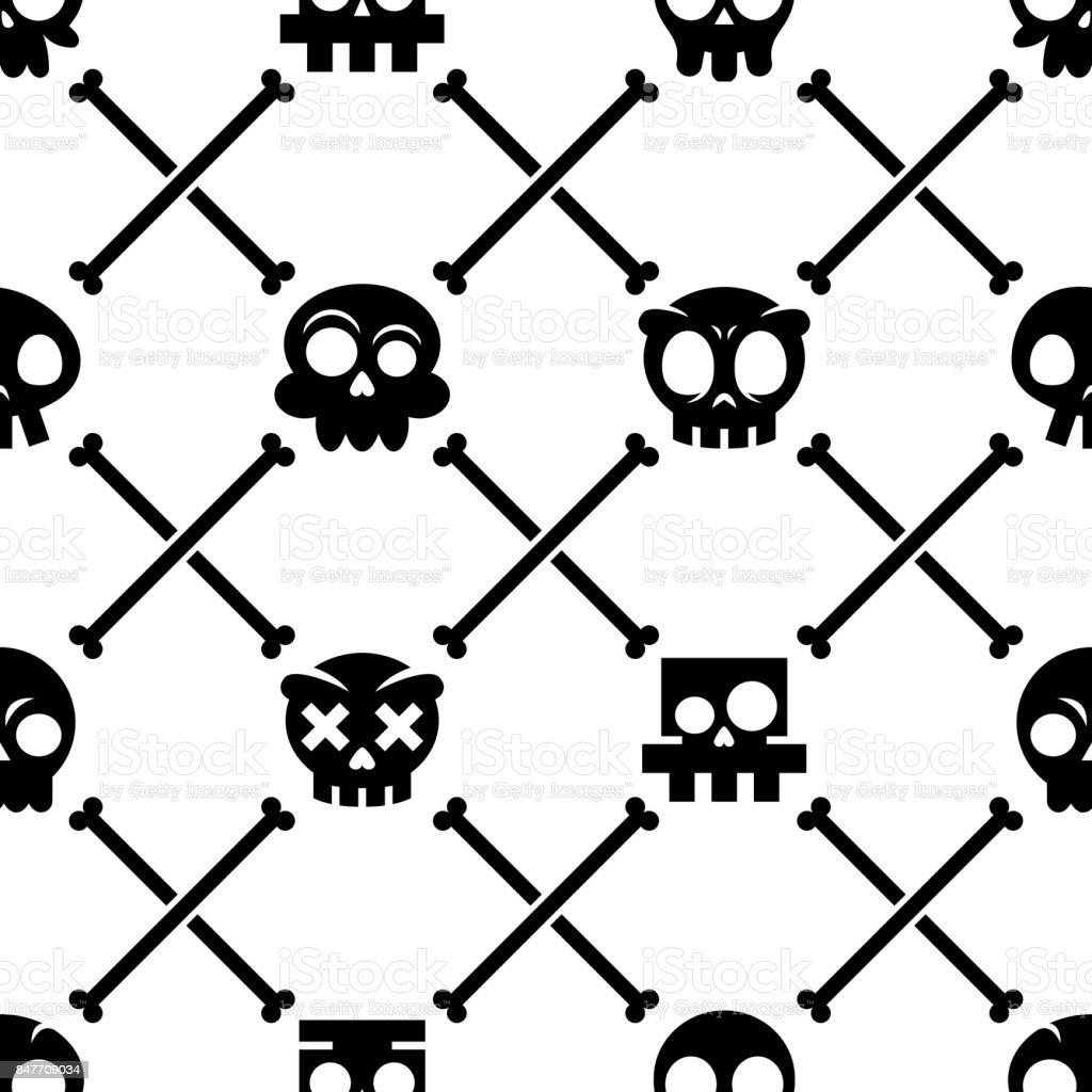8e323d7e70e Halloween Skull Vector Seamless Pattern Mexican Cute Black Skulls ...