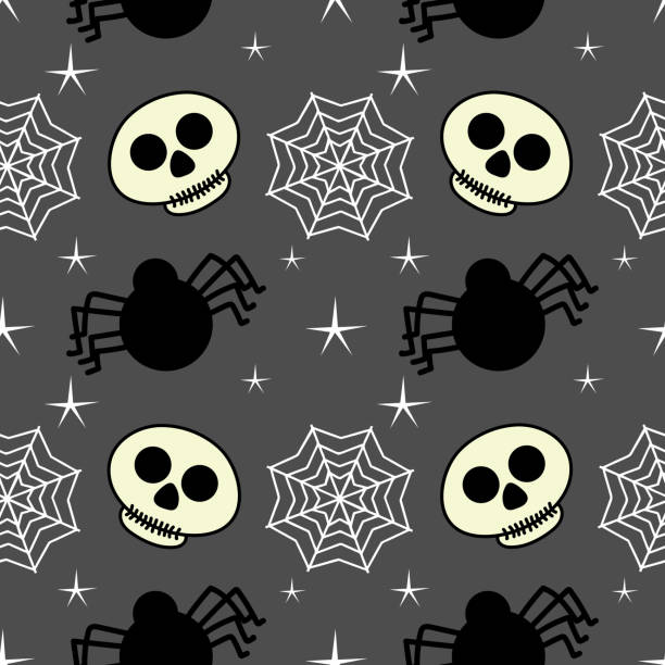 Halloween skull web spider and spider seamless pattern Halloween skull web spider and spider seamless pattern. vector illustration for fashion textile print and wrapping with festive design. tarantula stock illustrations