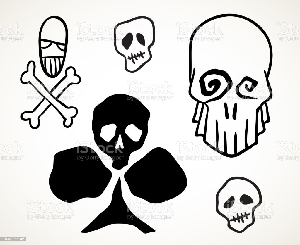 Halloween Skulls Design Elements Set Royalty Free Halloween Skulls Design Elements Set Stock Vector Art