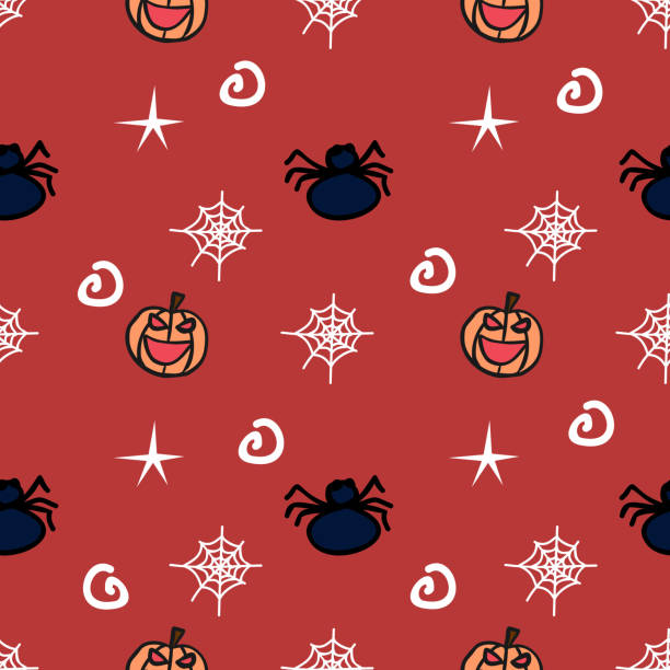 Halloween smile pumpkin and spider cute seamless pattern Halloween smile pumpkin and spider cute seamless pattern. vector illustration for fashion textile print and wrapping with festive design. tarantula stock illustrations