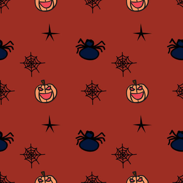 Halloween smile pumpkin and spider seamless pattern Halloween smile pumpkin and spider seamless pattern. vector illustration for fashion textile print and wrapping with festive design. tarantula stock illustrations