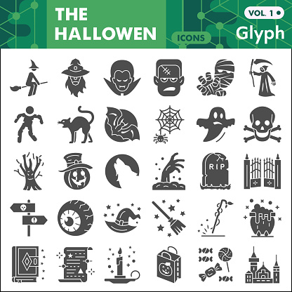 Halloween solid icon set, autumn holiday symbols collection or sketches. Halloween party glyph style signs for web and app. Vector graphics isolated on white background.