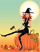 Illustration of a cute sorceress seated on a huge pumpkin.