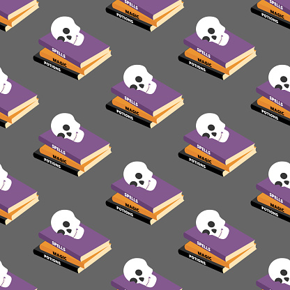 Halloween spell book seamless pattern