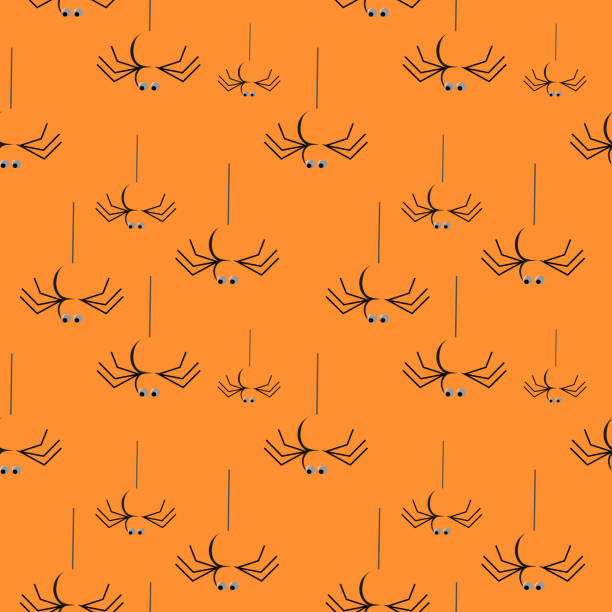 Halloween spider seamless pattern Halloween spider seamless pattern. vector illustration for fashion textile print and wrapping with festive design. tarantula stock illustrations