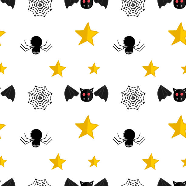 Halloween spider star and web seamless pattern Halloween spider star and web seamless pattern. vector illustration for fashion textile print and wrapping with festive design. tarantula stock illustrations