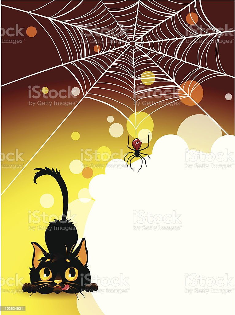 Halloween spider web and black cat background. royalty-free halloween spider web and black cat background stock vector art & more images of animal