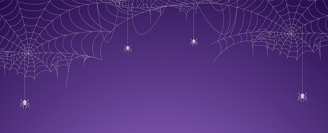 Halloween spider web banner with spiders, cobweb background
