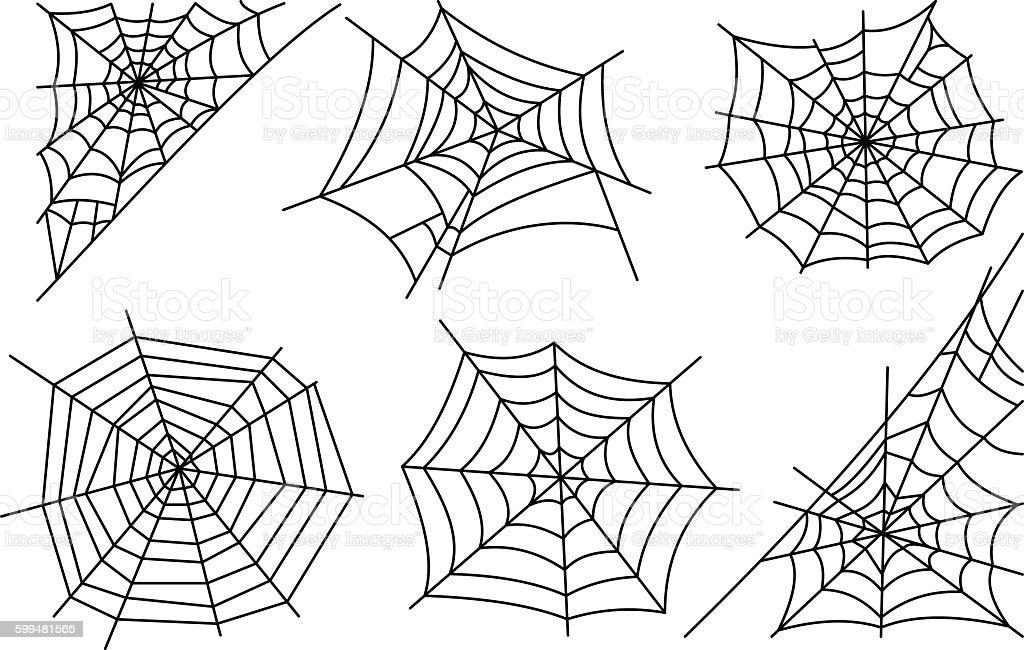 Halloween spider web icons vector art illustration