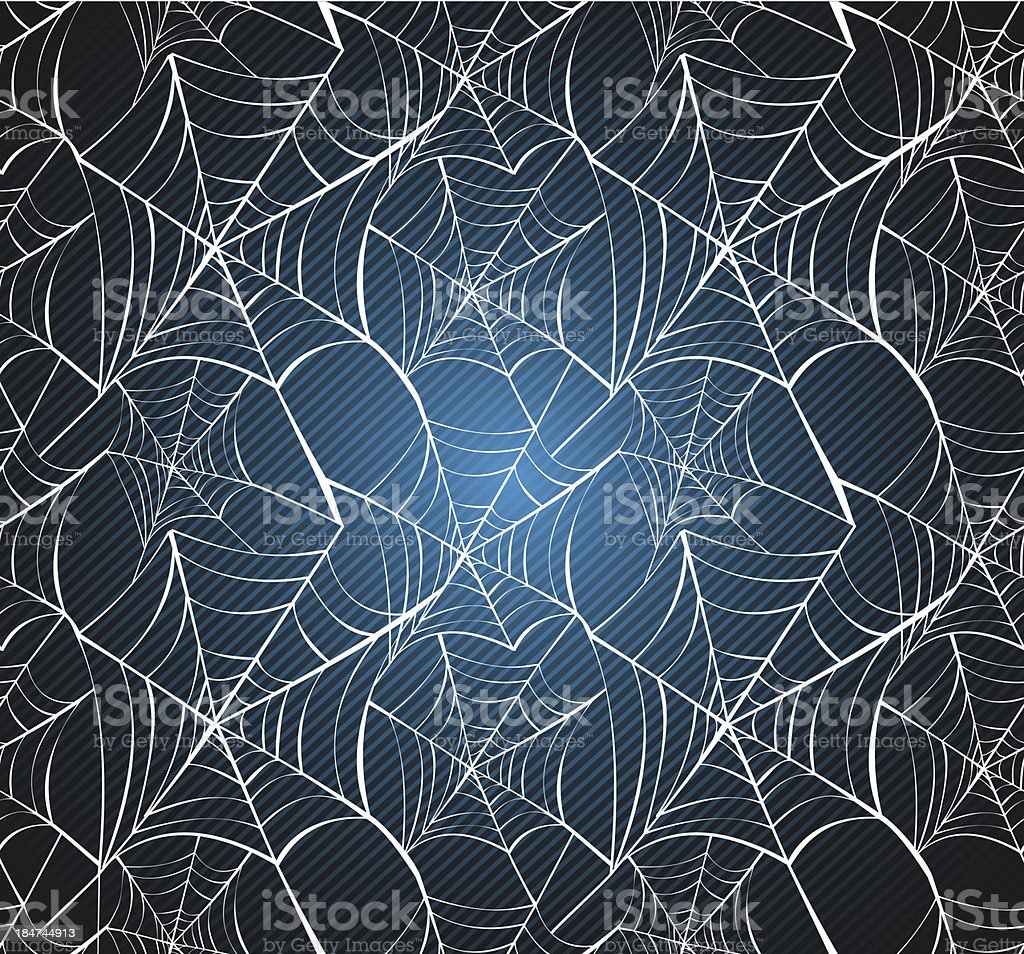 Halloween spider web seamless pattern blue background EPS10 file. royalty-free stock vector art