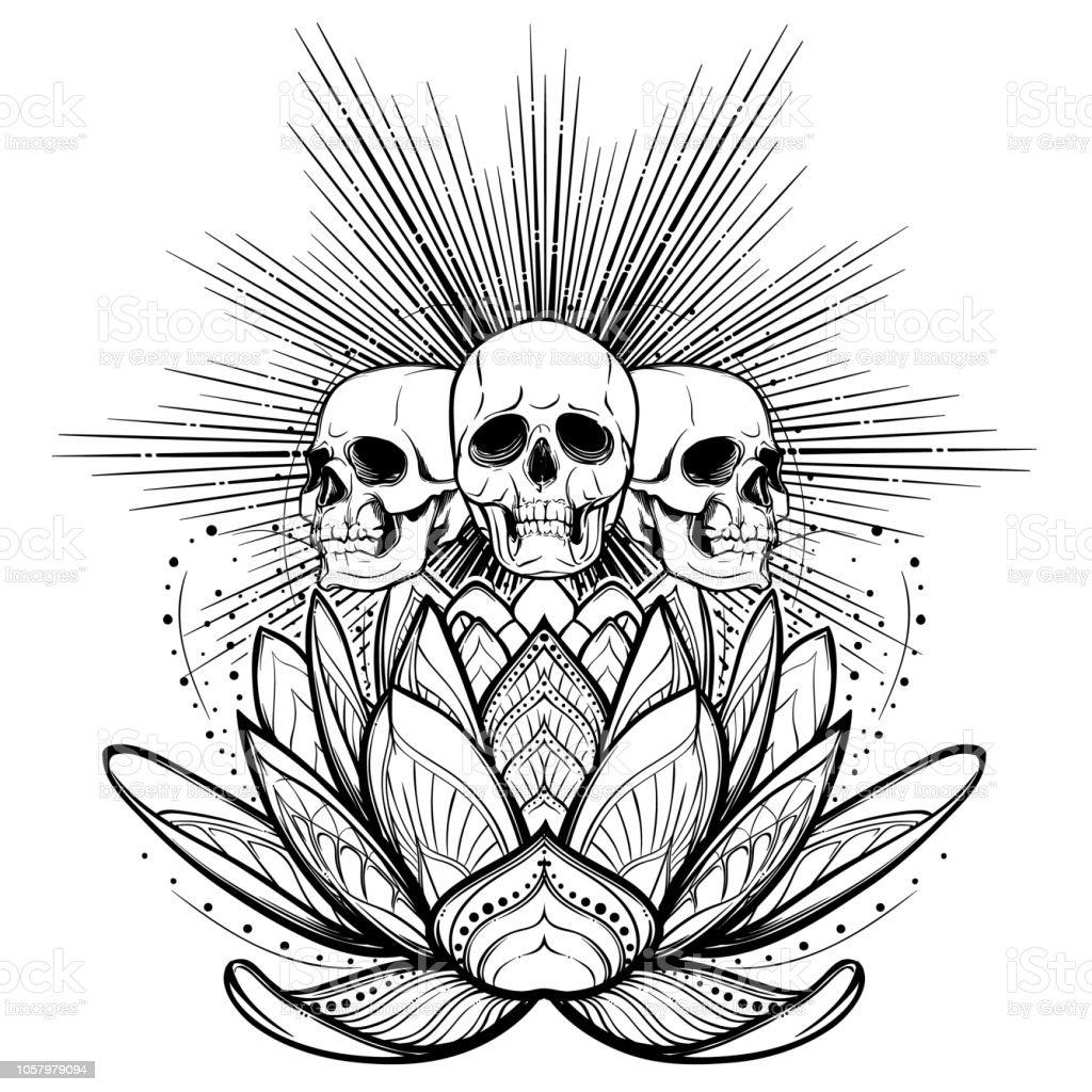 Halloween Spirit Human Skulls On A Sacred Lotus Flower With Light
