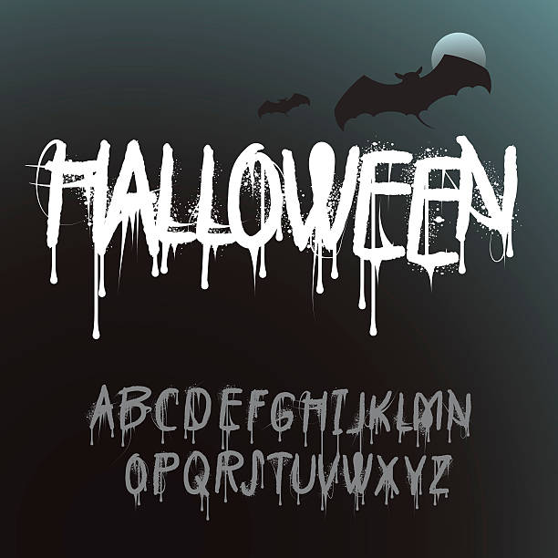 halloween splash alphabet - graffiti schriftarten stock-grafiken, -clipart, -cartoons und -symbole