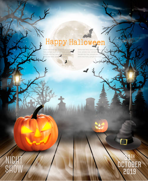 halloween pumpkins ürkütücü artalanla. vektör - halloween background stock illustrations