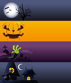 Halloween spooky Banner, with Banners with Pumpkin, Full Moon, Bats,  Black Cat, Graves. Vector Illustration cartoon.
