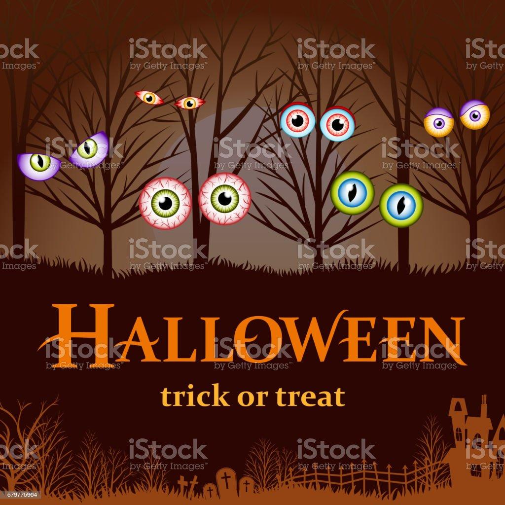 Halloween Spooky Eyes vector art illustration