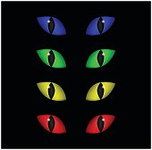 Halloween spooky eyes vector set isolated on black background.