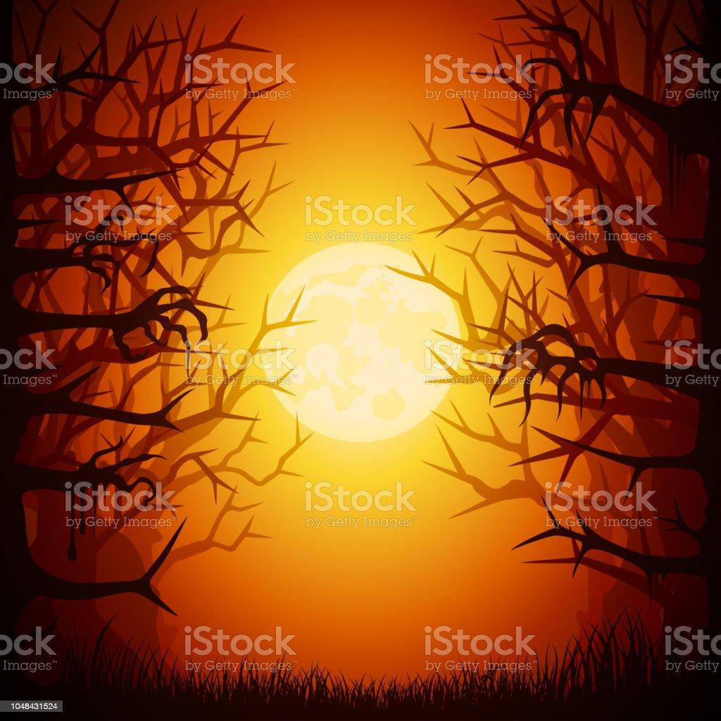 Halloween Spooky Forest vector art illustration