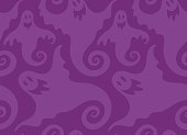 Spooky Halloween repeat pattern illustration. Seamless vector design works great for wrapping paper, tablecloths, web backgrounds, scrapbook paper, and more. Purple color can be changed easily with editing programs.