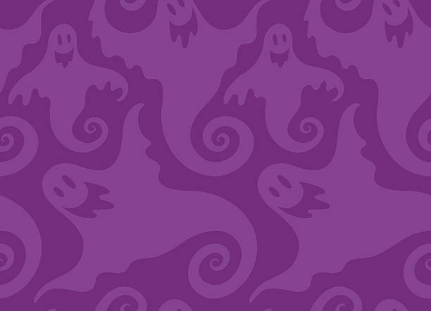 halloween spooky ghost seamless repeat vector pattern - halloween background stock illustrations