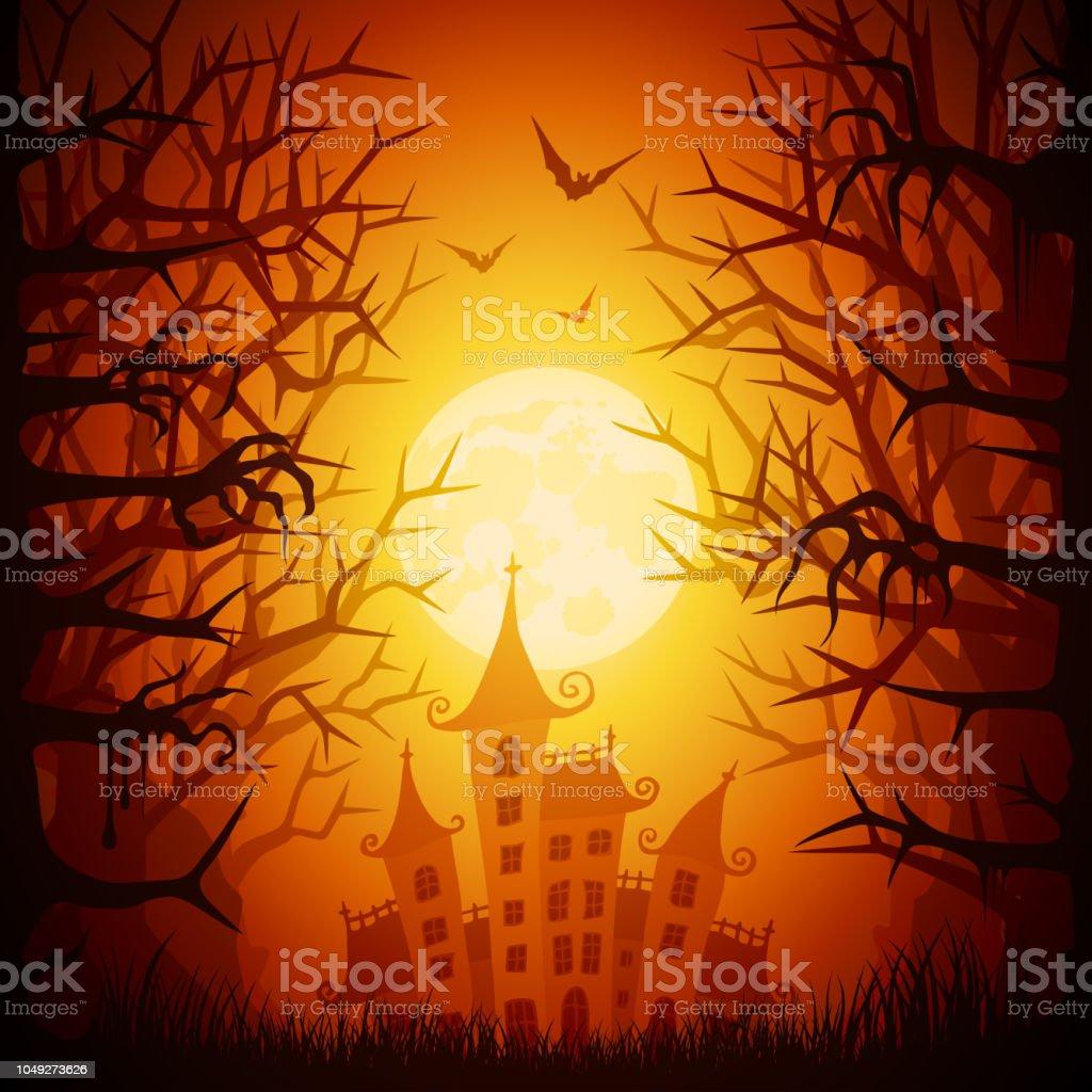 Halloween Spooky House vector art illustration